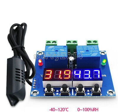 Xh-m452 Dc 12v Dual Digital Led Temperature Humidity Control Thermostat Probe