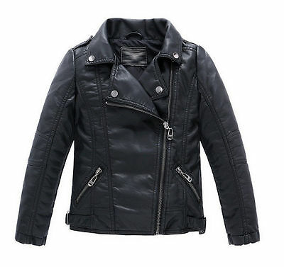 2018  Children Coats And Jackets Boys Leather Casual Turn-down Collar Jacket - Kids Boys Leather Jacket