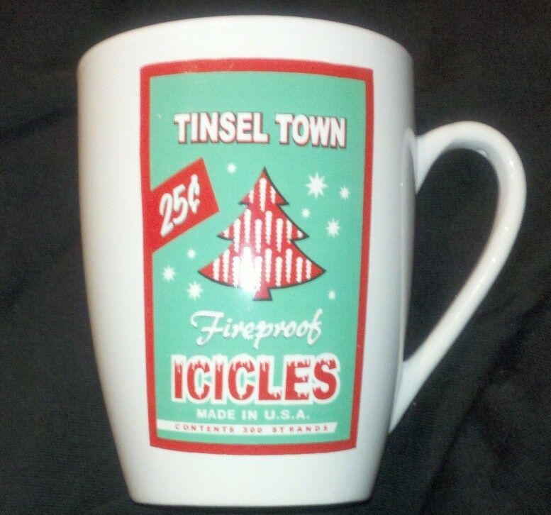 TINSEL TOWN Fireproof Icicles Made in USA Mug Red & Green Christmas Vintage Look
