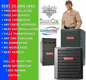 Rent-To-Own Furnace or A/C. FREE Install. 24/7 Service Incl. Any Credit Approved. Call us at 1-855-766-9696