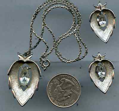 Vtg Leaf Silver Tone Sarah Coventry Set Clip On Earring Rhinestone Necklace N358