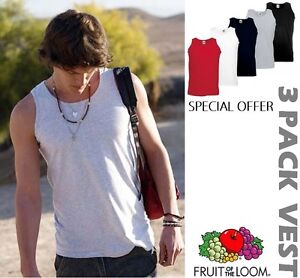 3-Pack-Mens-Fruit-of-the-Loom-Vests-100-Cotton-Tank-Top-Gym-T-Shirt-Top-Sale