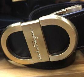 S Ferragamo Leather Belt Brass Buckle