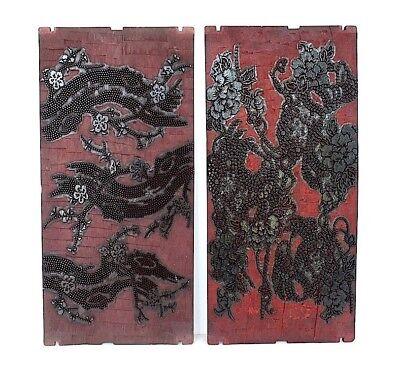 Japanese Printing Blocks Vintage Printing Plates Decorative Wall Panels Decor