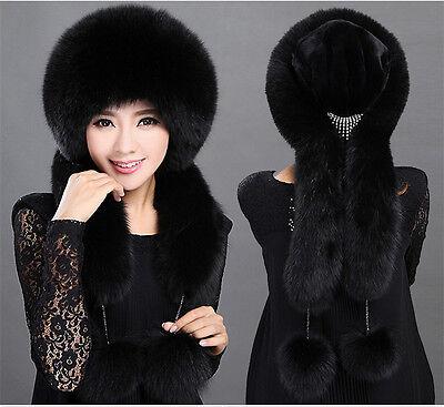 Women Real Black Fox Fur Hat Russian Winter Neck Warmer Ear Cap Ushanka Ski Hat