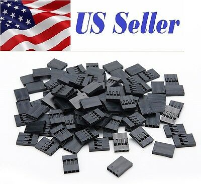 100 Pcs 4pin Dupont Connector 2.54mm Jumper 4p Wire Cable Housing