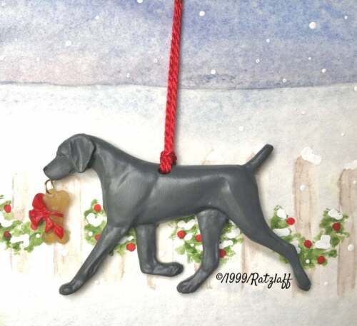 Weimaraner with bone-Christmas /holiday artist handcrafted dog breed ornament.