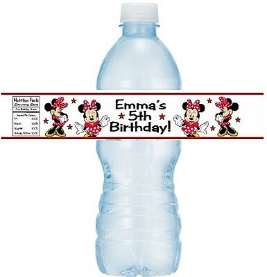 12 Minnie Mouse Red & Black Birthday Party Water Bottle Stickers Labels Classic](Classic Minnie Mouse Party Supplies)