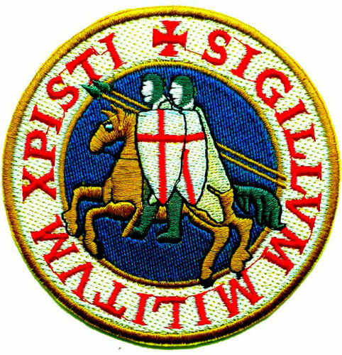 """KNIGHTS TEMPLAR SEAL iron-on PATCH embroidered CRUSADES BLUE  4"""" LARGE"""