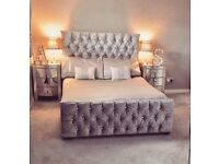 Crushed velvet double and kingsize beds brand new