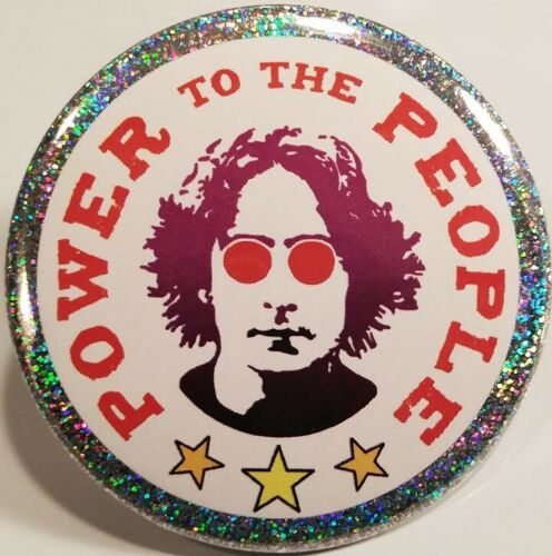 John Lennon PIN BUTTON Power To The People Political Activist Beatles Band Peace