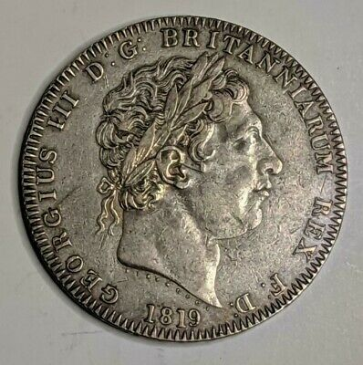 1819 LIX SILVER GREAT BRITAIN CROWN GEORGE III COIN EXTREMELY FINE/AU