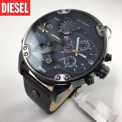 New Diesel Mr Daddy 2 0 Dz7314 Navy Blue Dial Brown Leather Gunmetal Mens Watch