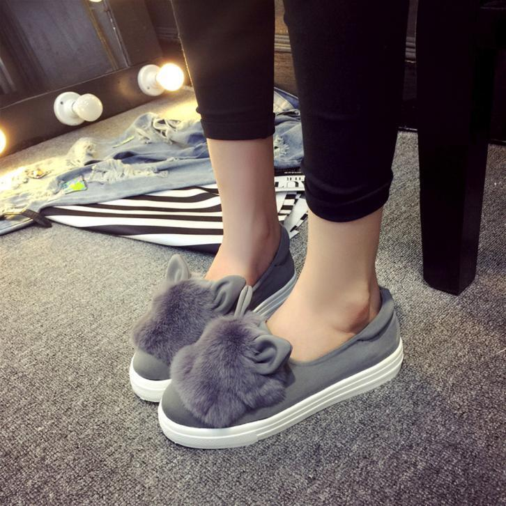 Women Sliders Frosted Rabbit Ears Woolen Shallow Flat With Flat Shoes Peas Shoes