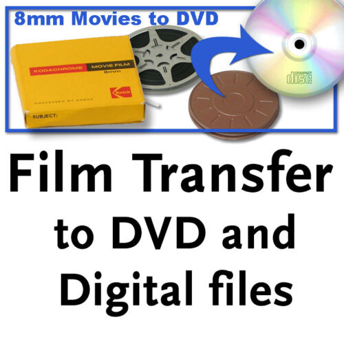 Regular 8mm, Super 8, 16mm film PREMIUM TRANSFER to DVD and digital files