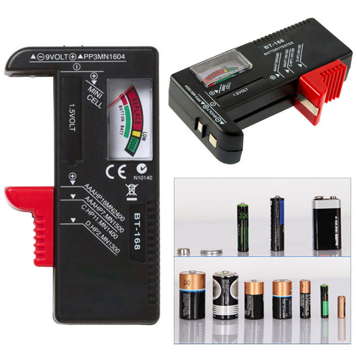 AA/AAA/C/D/9V/1.5V Universal Button Cell Battery Volt Capacity Tester Tool
