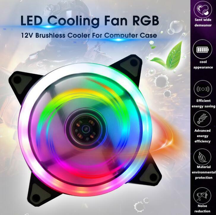 US 120mm White LED Cooling Fan 12V 4Pin to 3Pin RGB Computer Case PC CPU