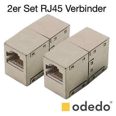 odedo® 2x RJ45 LAN Verbinder Netzwerk Kabel geschirmt Metall Patch Kupplung Cat6