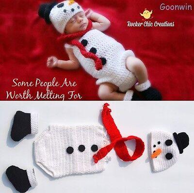 Neugeborene Baby Knit Strick Schneemann Fotoshooting Kostüm Mütze Schal Overall