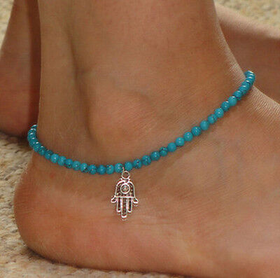 Boho Turquoise Beads Silver Tone Hamsa Ankle Chain Bracelet Anklet Foot Jewelry