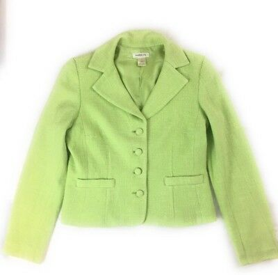 Harolds Womens Blazer Size 6 Lime Apple Green Tweed Jacket 100% Cotton