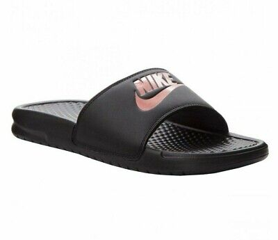 Nike Benassi JDI Womens Sandals Black/Rose Gold 343881 007 Slip On Slides