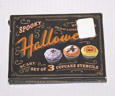 NEW WILLIAMS-SONOMA Spooky Halloween Scary Set of 3 Cupcake Stencils Ships FREE!