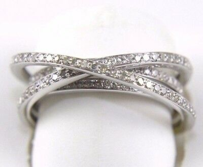 Natural Round Diamond Bypass Criss Cross Lady's Ring Band 14k White Gold .96Ct
