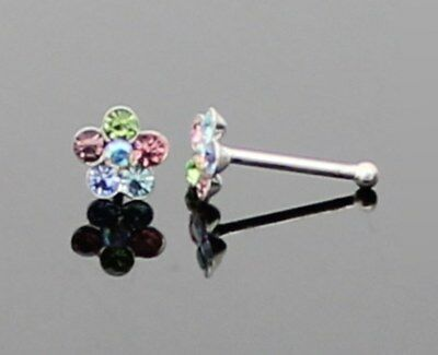 SOLID 925 STERLING SILVER MULTICOLOUR CRYSTAL FLOWER NOSE STUD PIN BONE BALL END