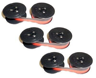 3x Cinta de Color Grupo 8 Olivetti Lettera 22 25 31 32 35 42 Nylon Rojo-Negro