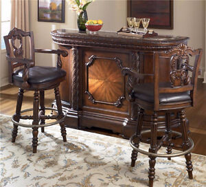 Ashley Marble Top Bar and 3 Bar Chairs