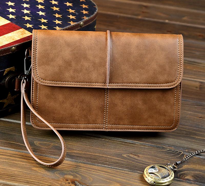 Vintage Mens Genuine Leather Clutch Wrist Bag Handbag Briefcase Wallet