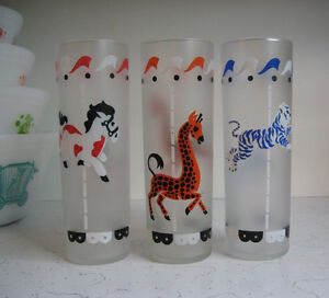 Vintage Libbey Frosted Carousel/Merry Go Round Glass Tumblers