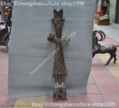 Old Chinese dynasty bronze ware Ancient people Sacrifice people the man statue