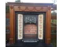 112 - Cast Iron Fireplace Surround Fire Wood Old Tiled Insert Antique Victorian Style