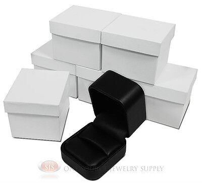 6 Piece Round Corner Black Leather Ring Jewelry Gift Boxes 2 X 2 38 X 1 34