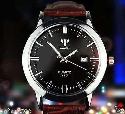 New Fashion Men Date Leather Stainless Steel Sport Quartz Waterproof Wrist Watch