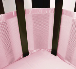 Breathable pink mesh crib bumpers