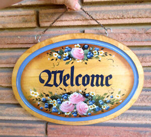 Hand Painted Wood WELCOME Sign - Flower Design