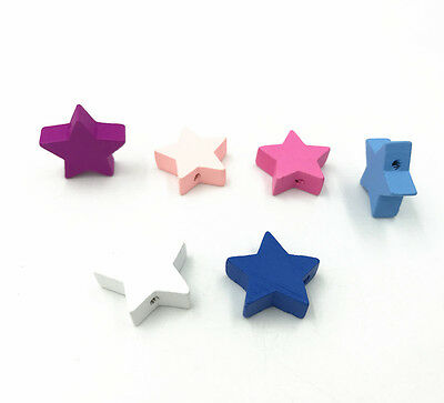 Star shape Wood Beads Mix Color Spacer Baby Pacifier Clip Jewelry Making DIY Color Beads Pacifier Clip