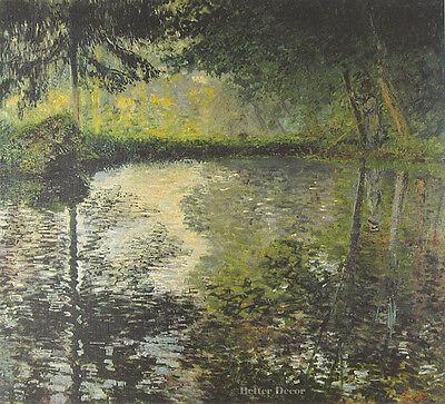 """24"""" PRINT Montgeron Pond,1877 by C.Monet ANTIQUE MUSEUM ART - LANDSCAPE PICTURE"""