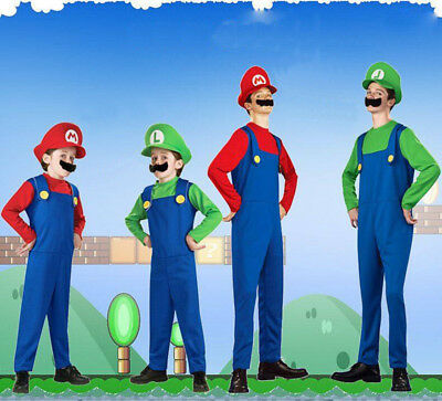 Unisex Mario And Luigi Costumes Super Mario Bros/Brothers Halloween Fancy Dress