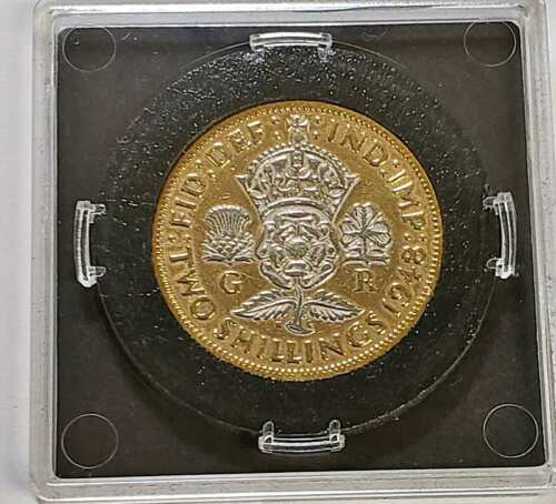 1948 GREAT BRITAIN HISTORIC COINS 2 SHILLINGS GOLD SILVER GILDED #18 (DR)