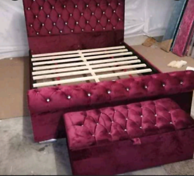 Factory Package New Sleigh Bed including Headborad And Footboard
