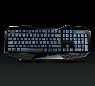 Aula Illuminated 3-COLOR LED Backlit USB Wired Programmable Gaming Game Keyboard