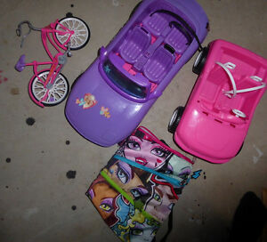 2 Barbie convertibles, bike, Monster High purse