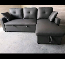 Black and Grey Sofabeds with storage bonded leather free local deliver