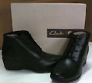 Brand New Clarks Women's Black Leather Ankle Boots
