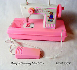 Vintage toy, sewing machine, Kitty's, battery power, pink/white