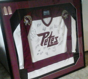 Autographed  Petes jersey, circa 1992, professionally framed.